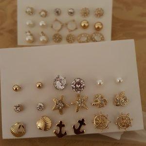 Earrings pierced gold tone costume jewelry